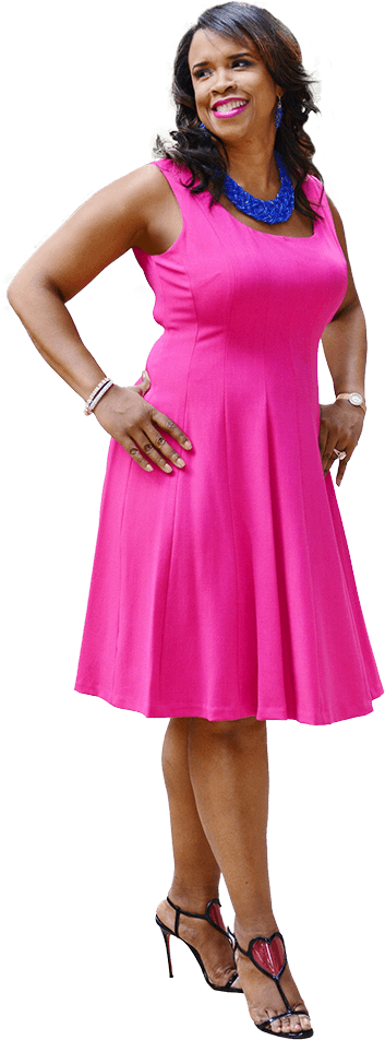 Taffi Dollar standing in a lovely brilliant rose pink dress