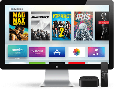 Apple TV displaying top movies and other apps