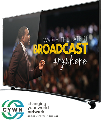 Curved TV displaying CYWN content