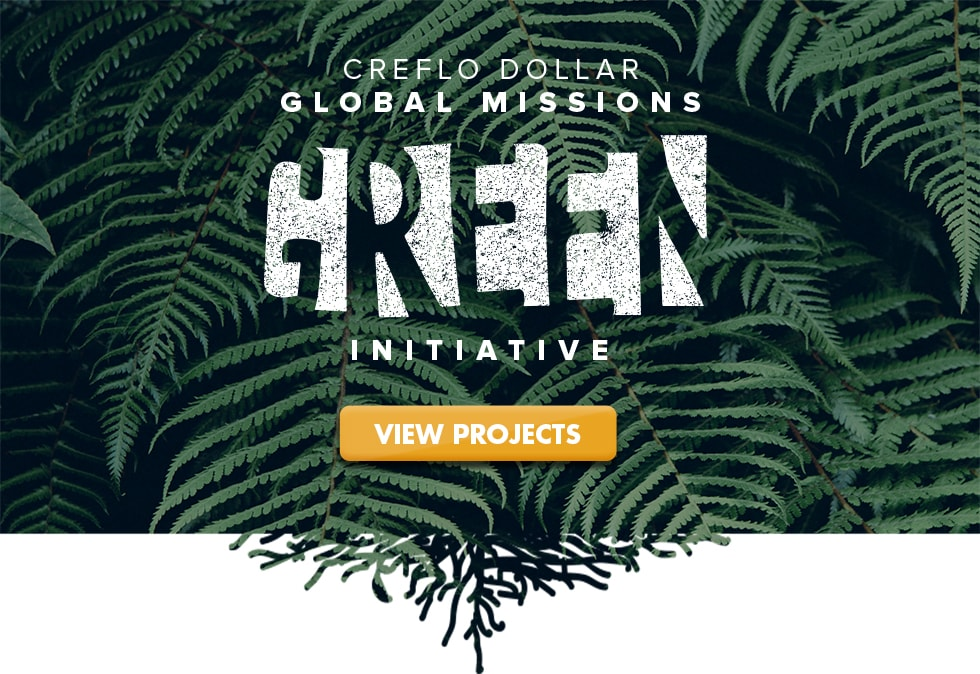 Green Initiative Logo on a green fern