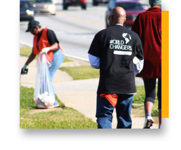 Community members collecting trash